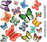 motley butterflies of different ... | Shutterstock .eps vector #56807089
