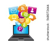 laptop computer with social... | Shutterstock .eps vector #568072666