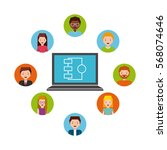 laptop computer with people... | Shutterstock .eps vector #568074646