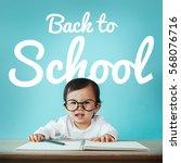 little baby asian girl on... | Shutterstock . vector #568076716
