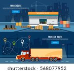 logistic banner delivery... | Shutterstock .eps vector #568077952