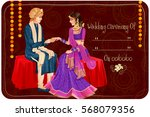vector design of indian couple... | Shutterstock .eps vector #568079356