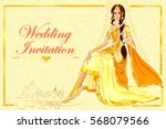 vector design of indian woman... | Shutterstock .eps vector #568079566