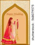 vector design of indian woman... | Shutterstock .eps vector #568079575