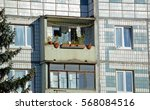 the balconies of old apartment... | Shutterstock . vector #568084516