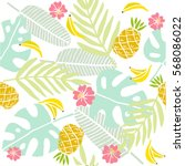 tropical background. palm... | Shutterstock .eps vector #568086022