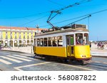 vintage tram in the city center ... | Shutterstock . vector #568087822