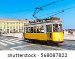 vintage tram in the city center ... | Shutterstock . vector #568087822