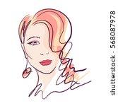 fashion girl portrait.... | Shutterstock .eps vector #568087978