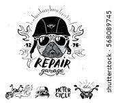 Biker Pug Dog. Set Of Vintage...