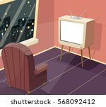 armchair in front of tv icon on ... | Shutterstock .eps vector #568092412