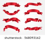 ribbon banner set.red ribbons... | Shutterstock .eps vector #568093162