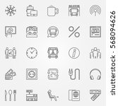 bus icons set   vector onboard... | Shutterstock .eps vector #568094626