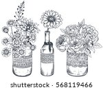 set of floral compositions....
