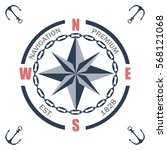 vintage nautical labels  icons... | Shutterstock .eps vector #568121068