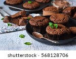 chocolate muffins with nuts and ... | Shutterstock . vector #568128706