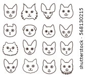cute cats faces line art set | Shutterstock .eps vector #568130215