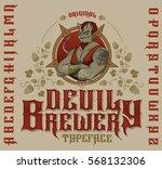 original devil brewery typeface.... | Shutterstock .eps vector #568132306