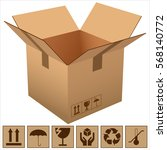 Cardboard Box And Icons Of...