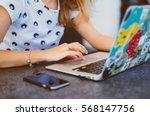 young pretty brunette woman eat ... | Shutterstock . vector #568147756
