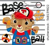 cute tiger cartoon baseball...