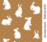 rabbit pattern color seamless... | Shutterstock . vector #568161355
