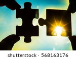 two hands trying to connect... | Shutterstock . vector #568163176