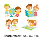 school pupils with books  map... | Shutterstock .eps vector #568163746