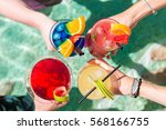 Stock photo poolside cocktails 568166755
