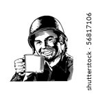 GI CuppaJoe - WWII Enlisted Man - Retro Clip Art