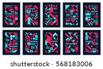 Scandinavian Poster Colorful Background Decorative Wallpaper with geometric Bold Editable Simple Block in Bright Color | Shutterstock vector #568183006