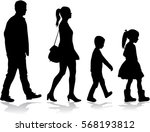 silhouette family on a walk. | Shutterstock .eps vector #568193812