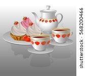 vector illustration. cake and... | Shutterstock .eps vector #568200466