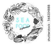 vector hand drawn seafood logo. ... | Shutterstock .eps vector #568204888