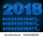 four set of blue colored 3d...   Shutterstock .eps vector #568208008
