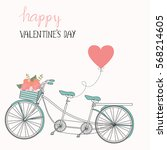happy valentines day .romantic... | Shutterstock .eps vector #568214605