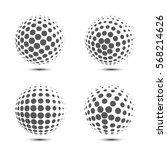 set of vector halftone spheres. ... | Shutterstock .eps vector #568214626