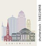 louisville skyline poster in... | Shutterstock .eps vector #568214848