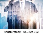 businessmen on abstract city... | Shutterstock . vector #568225312