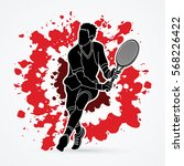 man tennis player action... | Shutterstock .eps vector #568226422
