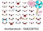 set of cute kawaii emoticon... | Shutterstock .eps vector #568228702