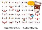 set of cute kawaii emoticon... | Shutterstock .eps vector #568228726