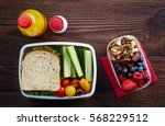 healthy lunch boxes with... | Shutterstock . vector #568229512
