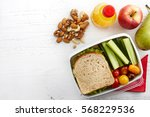 healthy lunch box with sandwich ... | Shutterstock . vector #568229536
