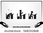 pupil chair desk icon vector... | Shutterstock .eps vector #568242868