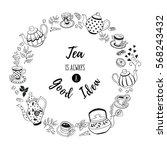 tea time poster concept. tea... | Shutterstock .eps vector #568243432