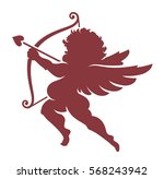 red vector cupid silhouette... | Shutterstock .eps vector #568243942