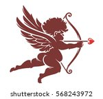 red vector cupid silhouette... | Shutterstock .eps vector #568243972