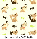 Stock vector seamless pattern with cute pets 56824648