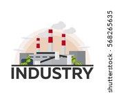 industrial building factory.... | Shutterstock .eps vector #568265635